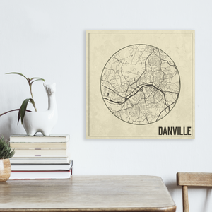 Danville Virginia Square Canvas Map | Hanging Canvas Map of Danville | Printed Marketplace