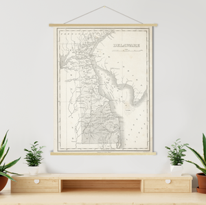 Hanging Canvas Map of Delaware by Printed Marketplace