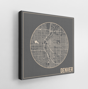 Hanging Canvas Square Map of Denver Colorado