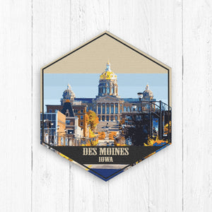 Des Moines Iowa Hexagon Illustration Print