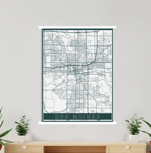 Des Moines Iowa Street Map Print | Hanging Canvas Map of Des Moines | Printed Marketplace