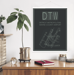 Detroit Michigan Airport Map Print