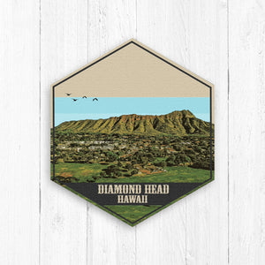 Diamond Head Hawaii Hexagon Illustration Print