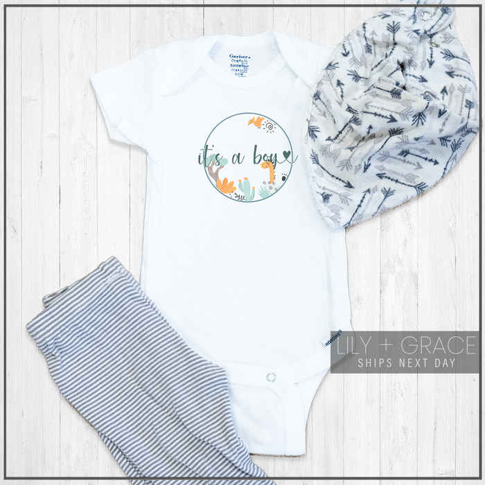 Dinosaur Birth Announcement Newborn Onesie® | Infant Apparel | Kid's Boutique