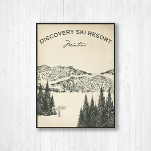 Discovery Ski Resort Sketch Print