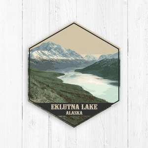 Eklutna Lake Alaska Hexagon Illustration by Printed Marketplace