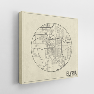 Elyria Ohio Weathered Map | Hanging Canvas Map of Elyria | Printed Marketplace