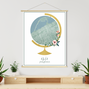 Erie Pennsylvania Map | Hanging Canvas
