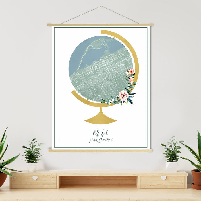 Erie Pennsylvania Watercolor Globe Street Map