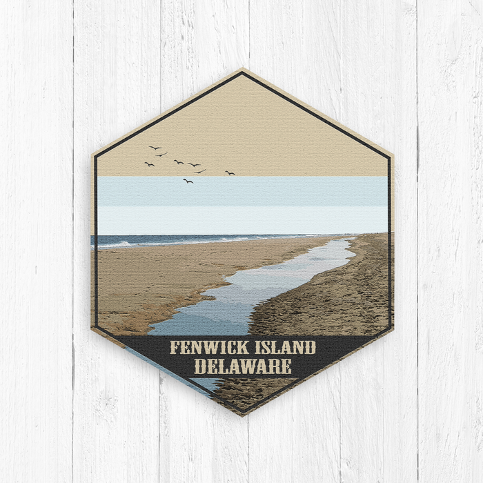 Fenwick Island Delaware Hexagon Illustration
