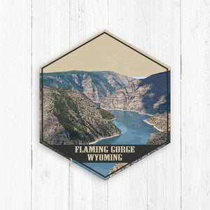 Flaming Gorge Wyoming Hexagon Illustration Print