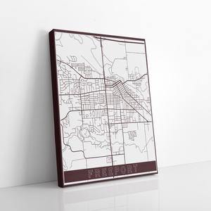 Freeport Illinois Street Map | Hanging Canvas Map of Freeport | Printed Marketplace