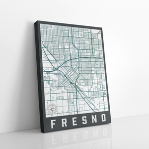 Fresno California City Street Map by Printed Marketplace
