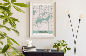 Geneva Lake Wisconsin Lake Map Print