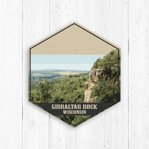 Gibraltar Rock Wisconsin Hexagon Illustration