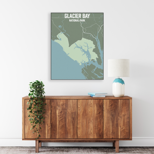 Hanging Canvas Map of Glacier Bay National Park by Printed Marketplace