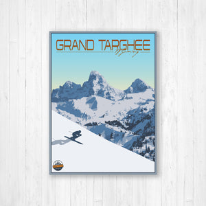 Grand Targhee Wyoming Modern Illustration Print | Hanging Canvas of Grand Targhee Ski Resort | Printed Marketplace
