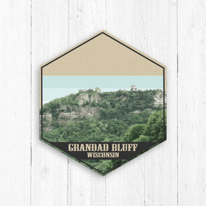 Grandad Bluff Wisconsin Hexagon Illustration