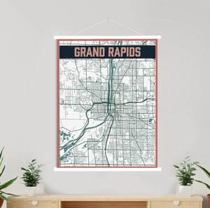 Grand Rapids Michigan Street Map | Hanging Canvas Map of Grand Rapids | Printed Marketplace