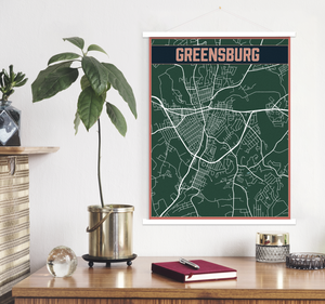 Greensburg Pennsylvania City Street Map | Hanging Canvas Map of Greensburg | Printed Marketplace