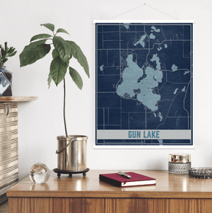Gun Lake Michigan Lake Map Print