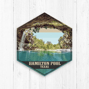 Hamilton Pool Texas Hexagon Canvas