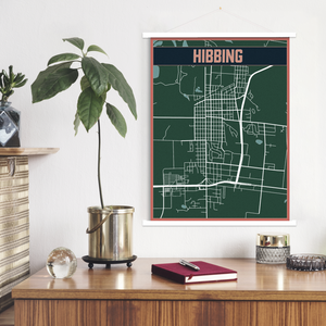 Hibbing Minnesota City Street Map | Hanging Canvas Map of Hibbing | Printed Marketplace