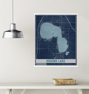 Higgins Lake Michigan Map Print