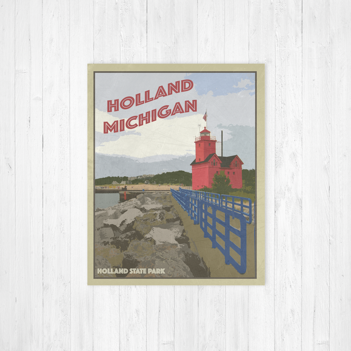 Holland State Park Lighthouse Illustration