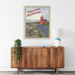 Holland State Park Poster | Holland State Park Travel Illustration | Printed Marketplace
