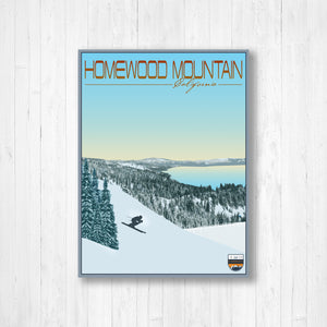Homewood Mountain California Modern Illustration Print by Printed Marketplace