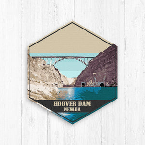 Hoover Dam Nevada Hexagon Illustration