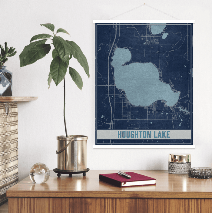Houghton Lake Michigan Map Print