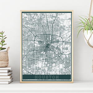 Houston Texas City Street Map By Printed Marketplace
