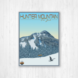 Hunter Mountain New York Modern Illustration Print | Hanging Canvas of Hunter Mountain Ski Resort | Printed Marketplace