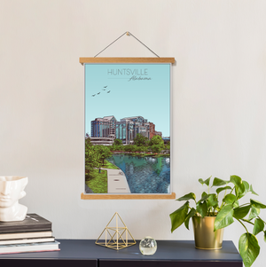 Huntsville, Alabama Illustration Print | Huntsville Hanging Canvas Print