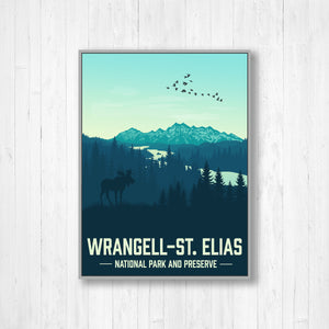 Wrangell National Park Modern Illustration Print