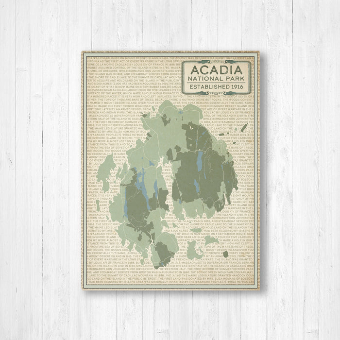Acadia National Park Map Print