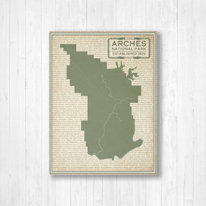 Hanging Canvas Map of Arches National Park by Printed Marketplace