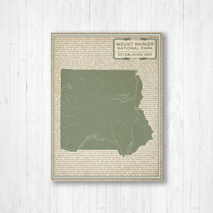 Mount Rainier National Park Street Map Print