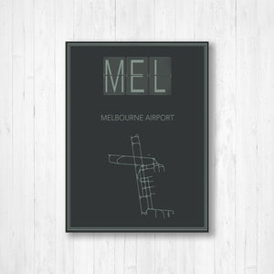 Melbourne Airport Map Print