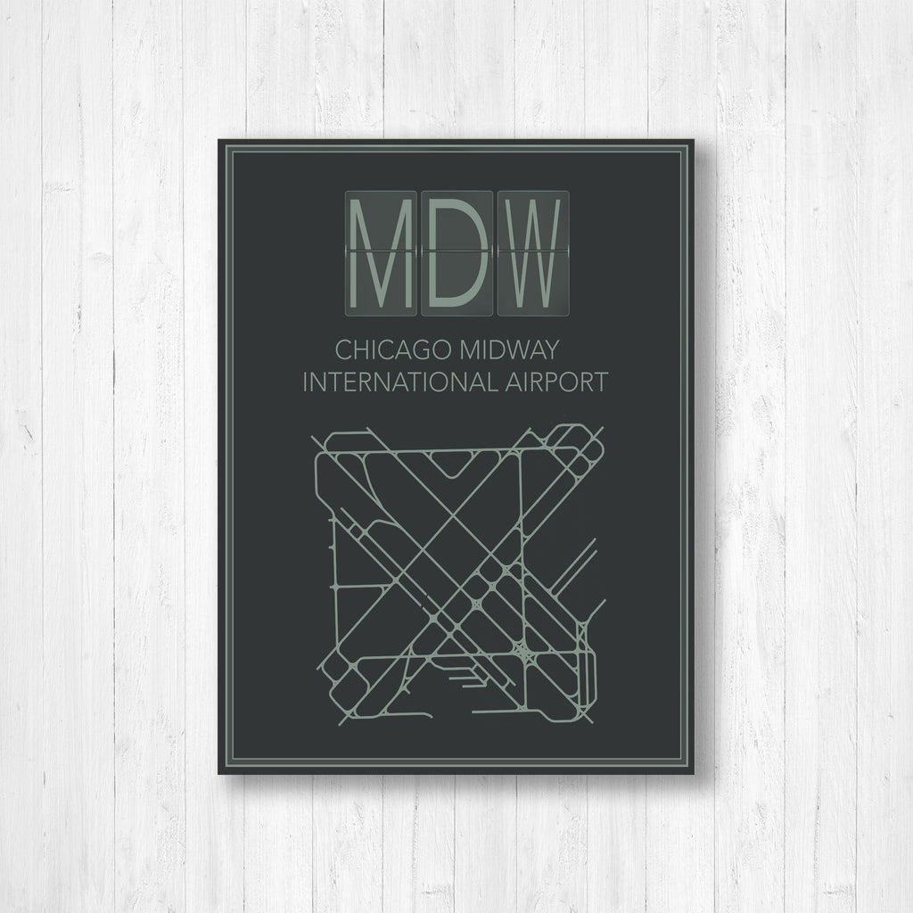 Chicago Midway International Airport Map Print
