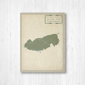 Great Smoky Mountains Print Map