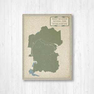 Rocky Mountain National Park Street Map Print
