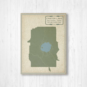 Crater Lake National Park Street Map Print