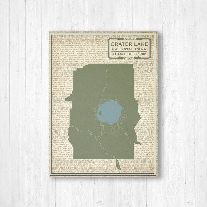 Crater Lake National Park Oregon Map Print