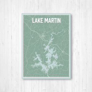 Lake Martin Alabama Street Map Print: Nautical