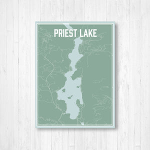 Priest Lake Idaho Street Map Print