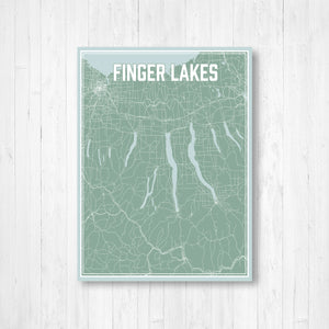 Finger Lakes New York Lake Map Print