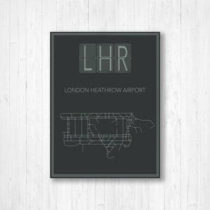 London Heathrow Airport Map Print
